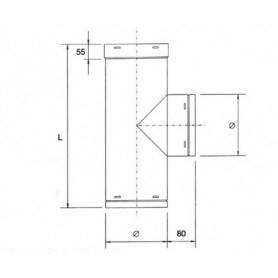 Raccordo a T a 90° per tubazione cappa • in ACCIAIO INOX AISI 304
