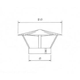Cappello terminale per tubazione cappa • in ACCIAIO INOX AISI 304