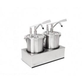 Dispenser dosatore salse singolo in acciaio • capacità lt. 5+5