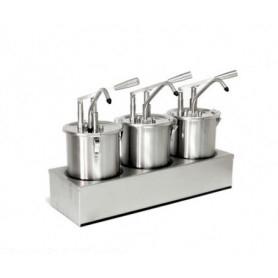 Dispenser dosatore salse singolo in acciaio • capacità lt. 5+5+5