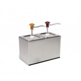 Dispenser dosatore salse singolo in acciaio • capacità lt. 3+3