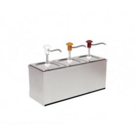 Dispenser dosatore salse singolo in acciaio • capacità lt. 3+3+3