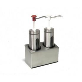 Dispenser dosatore salse singolo in acciaio • capacità lt. 2+2