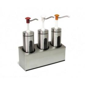 Dispenser dosatore salse singolo in acciaio • capacità lt. 2+2+2