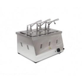 Dispenser per salse in acciaio meccanico • GN 1/6 h. 20 incluse
