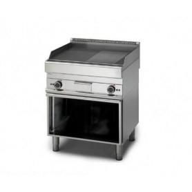 Fry Top a gas con piano ½ LISCIOe ½ RIGATO. Dim.cm. 70x70x85H. - Potenza termica 11.40 Kw.