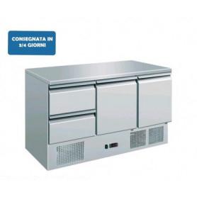 Saladette refrigerata 2 sportelli + 2 cassetti. Piano di lavoro inox. 136