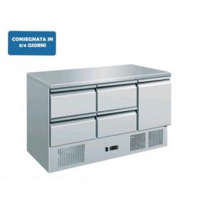 Saladette refrigerata 1 sportello + 4 cassetti. Piano di lavoro inox. 136