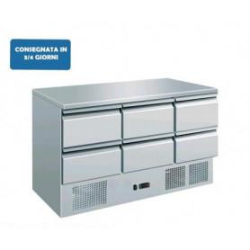Saladette refrigerata a 6 cassetti. Piano di lavoro inox. 136