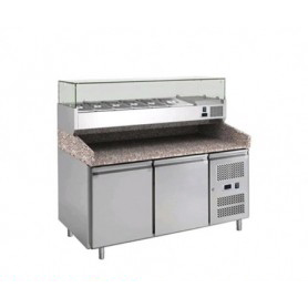 Banco Pizza refrigerato 2 sportelli. Piano in Granito e vetrina portacondimenti. 151x80x143H. – Vetrina GN 1/3