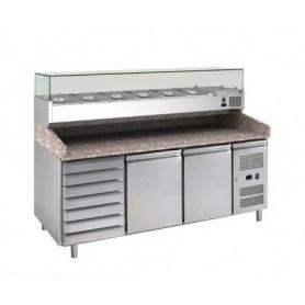 Banco Pizza refrigerato 2 sportelli + cassettiera. Piano in Granito e vetrina portacondimenti. 202
