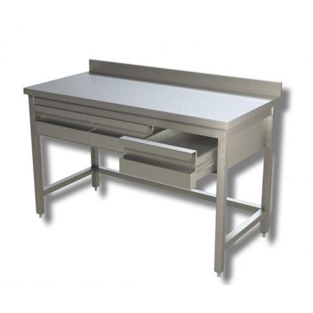 Tavolo inox senza ripiano di fondo, cassettiera in linea ...