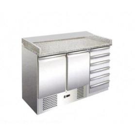 Banco pizza saladette 2 sportelli + cassettiera + piano in granito. 140x70x102