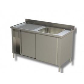 Lavatoio armadiato ad 1 vasca + sgocciolatoio laterale. Prof. 60