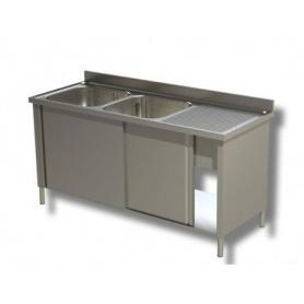 Lavatoio armadiato a 2 vasche + Sgocciolatoio laterale. Prof. 70
