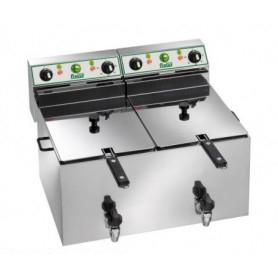 Friggitrice elettrica da banco Lt. 10+10 con rubinetto - Kw. 6+6