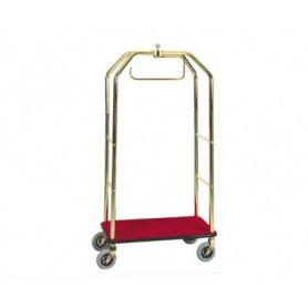 Carrello porta valigie con appendiabiti. Acciaio ottonato cm. 95 x 55 x 190