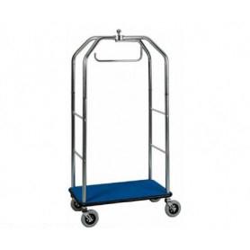 Carrello porta valigie con appendiabiti. Acciaio cromato cm. 95 x 55 x 190