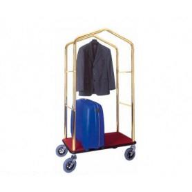 Carrello porta valigie con appendiabiti. Acciaio ottonato cm. 95 x 55 x 183 H.