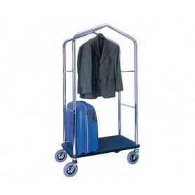 Carrello porta valigie con appendiabiti. Acciaio cromato cm. 95 x 55 x 183 H.