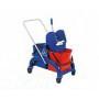 Carrello pulizia lavaggio pavimenti su ruote con 2 secchi e strizzatore