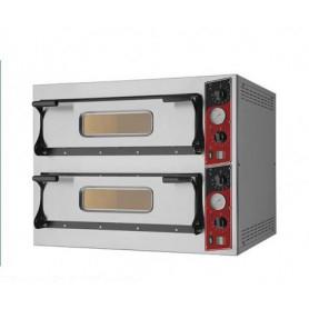 Forno Pizza elettrico 2 camere. Capacità 4+4 pizze Ø 32 cm. - Kw. 9.4 - Porta in Vetro