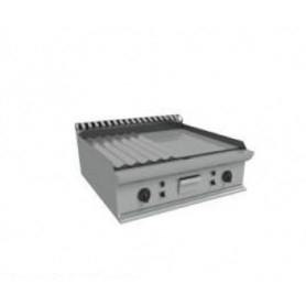 Fry Top a gas da banco con piano ½ LISCIO e ½ RIGATO. Dim.cm. 70x70x27H. – Potenza termica 12.00 Kw.