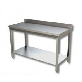 Tavolo inox con ripiano di fondo e alzatina - Prof. 50
