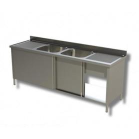 Lavatoio armadiato a 2 vasche + 2 sgocciolatoi laterali. Prof. 60