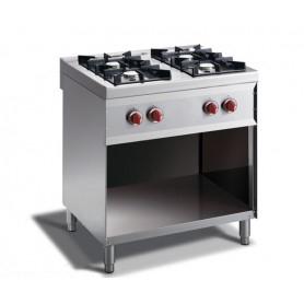 Cucina PROFESSIONALE a GAS 4 fuochi a fiamma libera. Dim.cm. 80x70x85H. - Potenza termica 14,8 Kw.