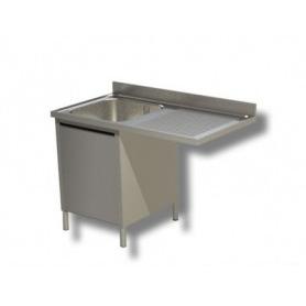 Lavatoio armadiato ad 1 vasca. Sgocciolatoio per lavastoviglie. Prof. 60