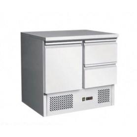 Saladette 1 sportello + 2 cassetti. Piano di lavoro inox. 90x70x85H.