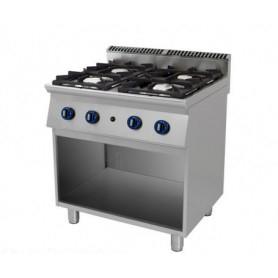 Cucina a GAS 4 fuochi a fiamma libera. Dim.cm. 80x90x85H. - Potenza termica 22