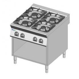 Cucina a GAS 4 fuochi a fiamma libera. Dim.cm. 80x90x85H. - Potenza termica 32 Kw.