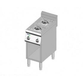 Cucina a GAS 2 fuochi a fiamma libera. Dim.cm. 35x70x85H. - Potenza termica 9
