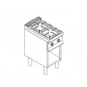 Cucina a GAS 2 fuochi a fiamma libera. Dim.cm. 40x90x85H. - Potenza termica 11