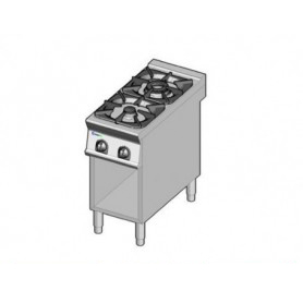 Cucina a GAS 2 fuochi a fiamma libera. Dim.cm. 40x90x85H. - Potenza termica 18 Kw.