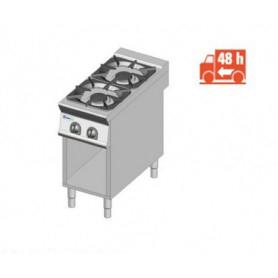 Cucina a GAS 2 fuochi a fiamma libera. Dim.cm. 35x70x85H. - Potenza termica 10