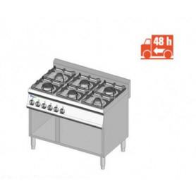 Cucina a GAS 6 fuochi a fiamma libera. Dim.cm. 105x70x85H. - Potenza termica 30 Kw.
