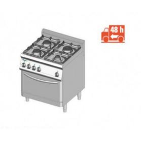 Cucina a GAS 4 fuochi a fiamma libera + forno a gas. Dim.cm. 70x70x85H. - Potenza termica 26