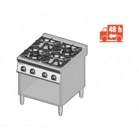 Cucina a GAS 4 fuochi a fiamma libera. Dim.cm. 80x90x85H. - Potenza termica 29 Kw.