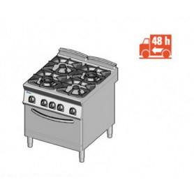 Cucina a GAS 4 fuochi a fiamma libera + forno a gas. Dim.cm. 80x90x85H. - Potenza termica 36 Kw.