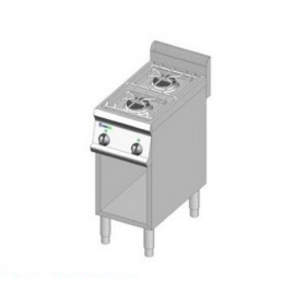 Cucina a GAS 2 fuochi a fiamma libera. Dim.cm. 35x70x85H. - Potenza termica 12 Kw.