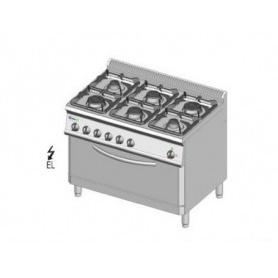 Cucina a GAS 6 fuochi a fiamma libera + forno elettrico MAXI. Dim.cm. 105x70x85H. - Potenza termica 30 Kw.