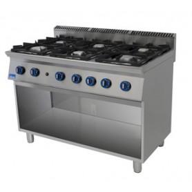 Cucina a GAS 6 fuochi a fiamma libera. Dim.cm. 120x90x85H. - Potenza termica 33
