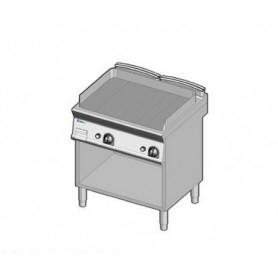 Fry Top a gas con piano RIGATO . Dim.cm. 70x70x85H. - Potenza termica 14 Kw.