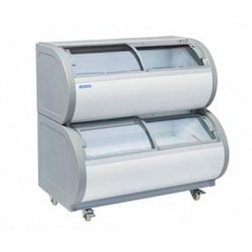 Congelatore doppio per gelati. Capacità 408 lt. Temp. -18°/-20°C. - Porte in vetro
