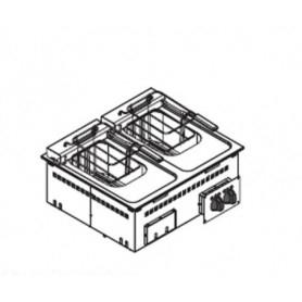 Friggitrice doppia elettrica 8+8 lt. da incasso - 3+3 Kw. - Dim.cm. 70x60