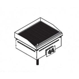 Fry Top elettrico da incasso. Piano cottura rigato - 6 Kw. - Dim.cm. 70x60