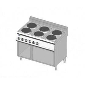 Cucina elettrica a 6 piastre tonde. Dim.cm. 105x70x85H. - Assorbimento 12 Kw.